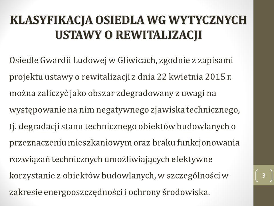 3 KLASYFIKACJA OSIEDLA WG WYTYCZNYCH USTAWY O REWITALIZACJI Osiedle Gwardii Ludowej w Gliwicach, zgodnie z zapisami projektu ustawy o rewitalizacji z dnia 22 kwietnia 2015 r.