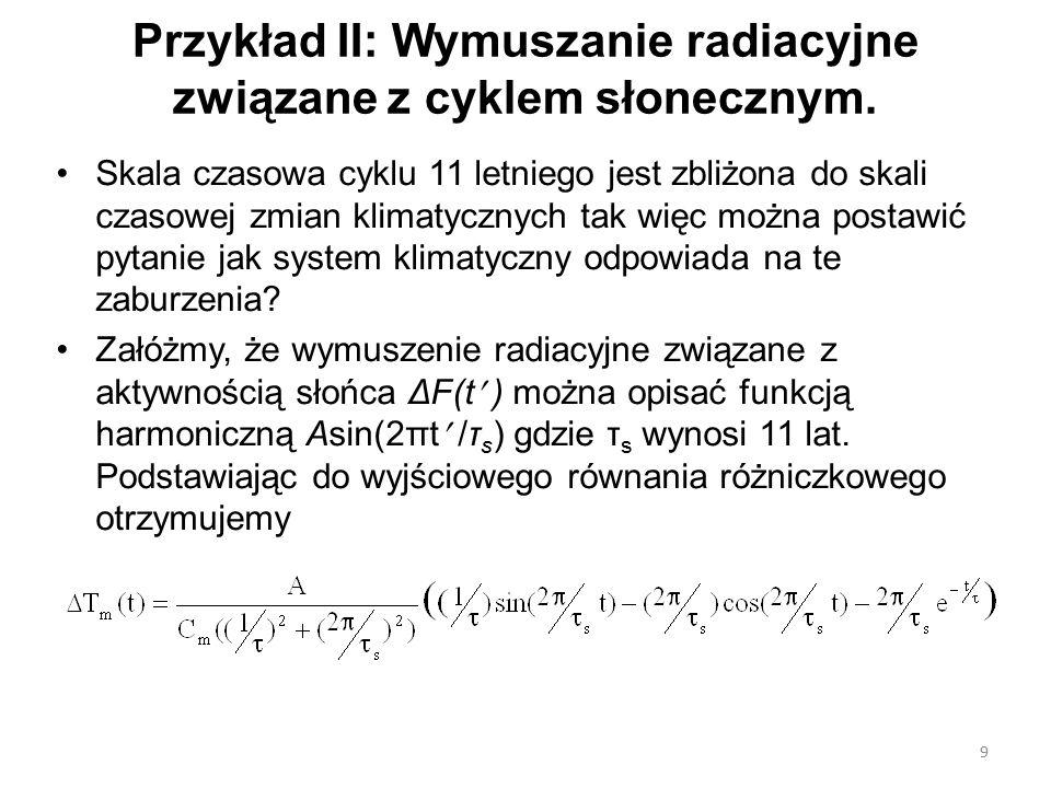 Przykład II: Wymuszanie radiacyjne związane z cyklem słonecznym. Skala czasowa cyklu 11 letniego jest zbliżona do skali czasowej zmian klimatycznych t