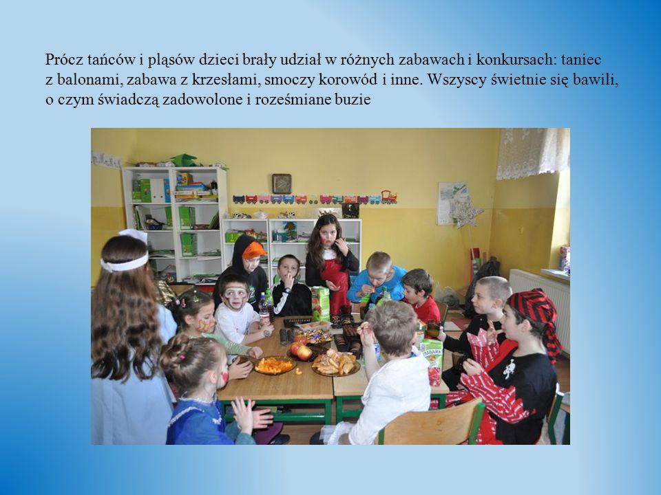 Prócz tańców i pląsów dzieci brały udział w różnych zabawach i konkursach: taniec z balonami, zabawa z krzesłami, smoczy korowód i inne. Wszyscy świet