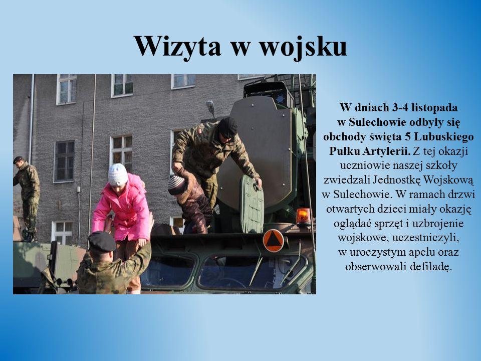 Wizyta w wojsku W dniach 3-4 listopada w Sulechowie odbyły się obchody święta 5 Lubuskiego Pułku Artylerii. Z tej okazji uczniowie naszej szkoły zwied