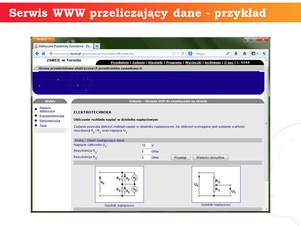 informatyka + 18 Serwis WWW przeliczający dane - przykład