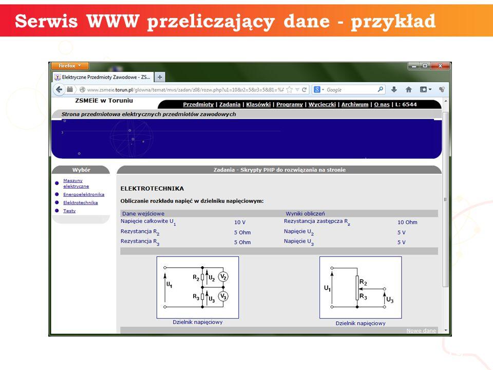 informatyka + 19 Serwis WWW przeliczający dane - przykład