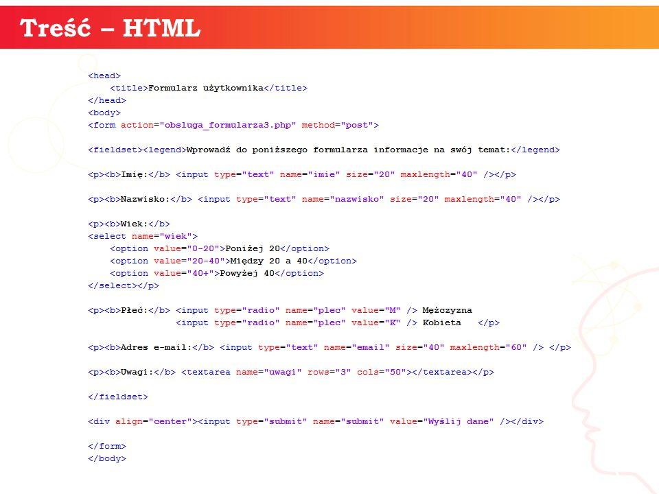 informatyka + 3 Treść – HTML