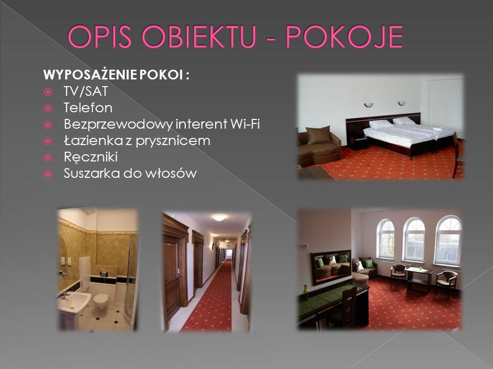 WYPOSAŻENIE POKOI :  TV/SAT  Telefon  Bezprzewodowy interent Wi-Fi  Łazienka z prysznicem  Ręczniki  Suszarka do włosów