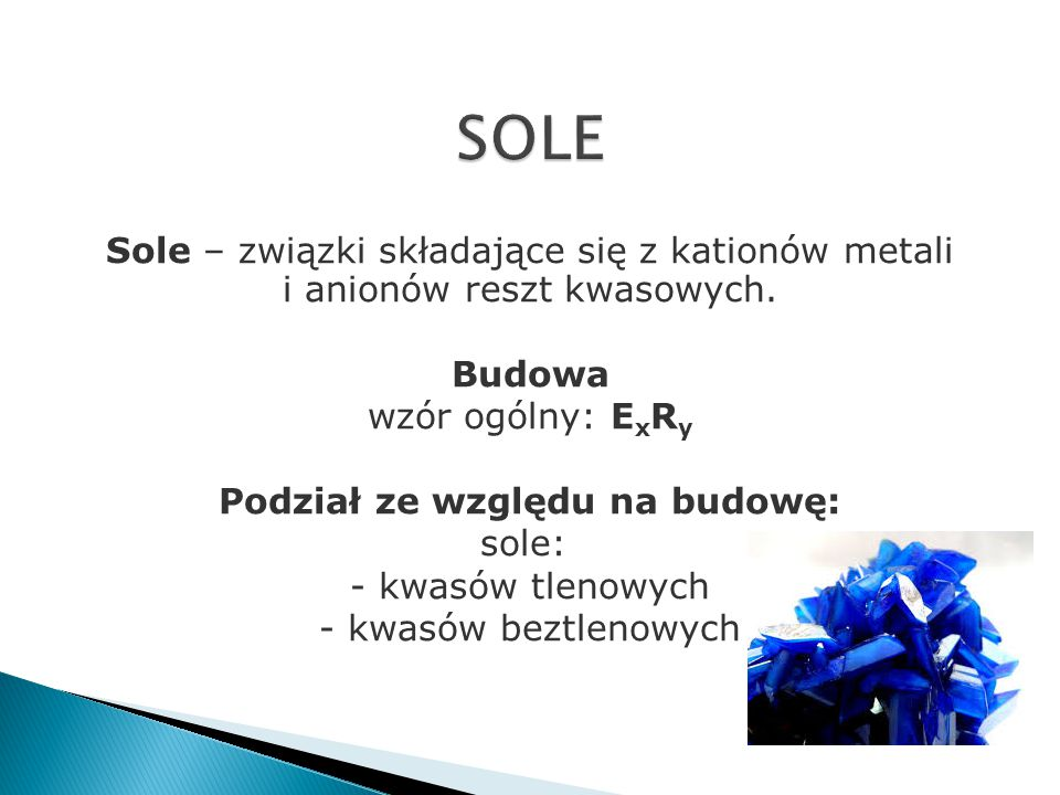 metal nieaktywny + kwas -> sól + tlenek +woda Cu +stęż. 4HNO 3  Cu(NO 3 ) 2 +2NO 2 +2H 2 O