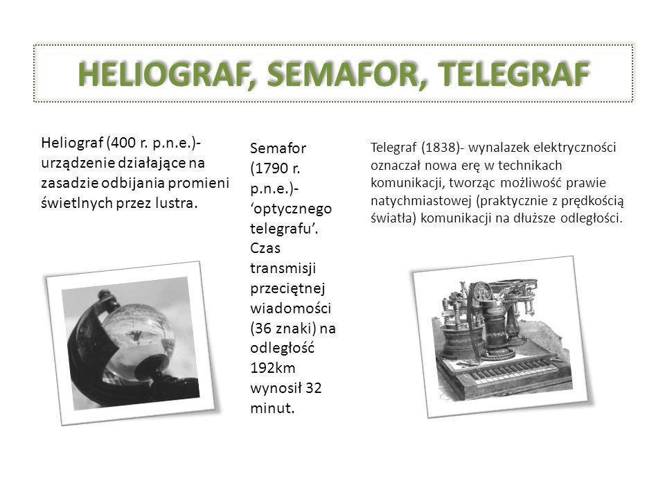 HELIOGRAF, SEMAFOR, TELEGRAF Heliograf (400 r. p.n.e.)- urządzenie działające na zasadzie odbijania promieni świetlnych przez lustra. Semafor (1790 r.