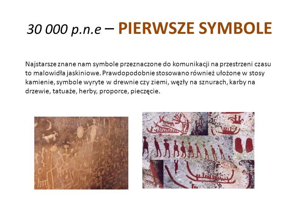 30 000 p.n.e – PIERWSZE SYMBOLE Najstarsze znane nam symbole przeznaczone do komunikacji na przestrzeni czasu to malowidła jaskiniowe. Prawdopodobnie