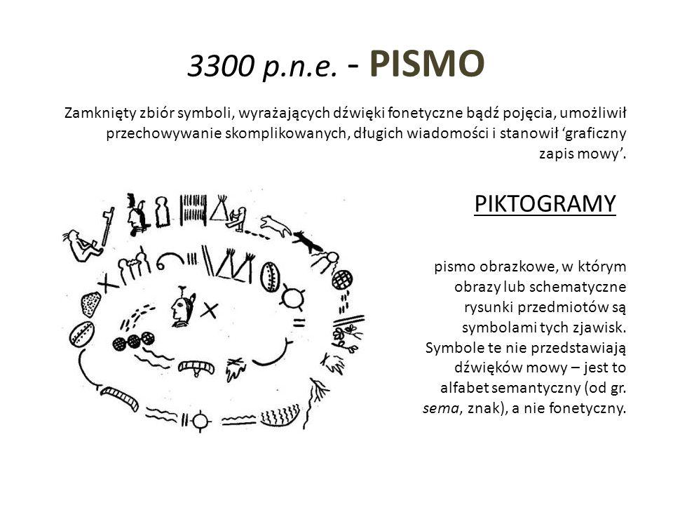 3300 p.n.e. - PISMO Zamknięty zbiór symboli, wyrażających dźwięki fonetyczne bądź pojęcia, umożliwił przechowywanie skomplikowanych, długich wiadomośc