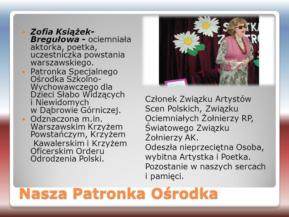 Nasza Patronka Ośrodka Zofia Książek- Bregułowa - ociemniała aktorka, poetka, uczestniczka powstania warszawskiego. Patronka Specjalnego Ośrodka Szkol