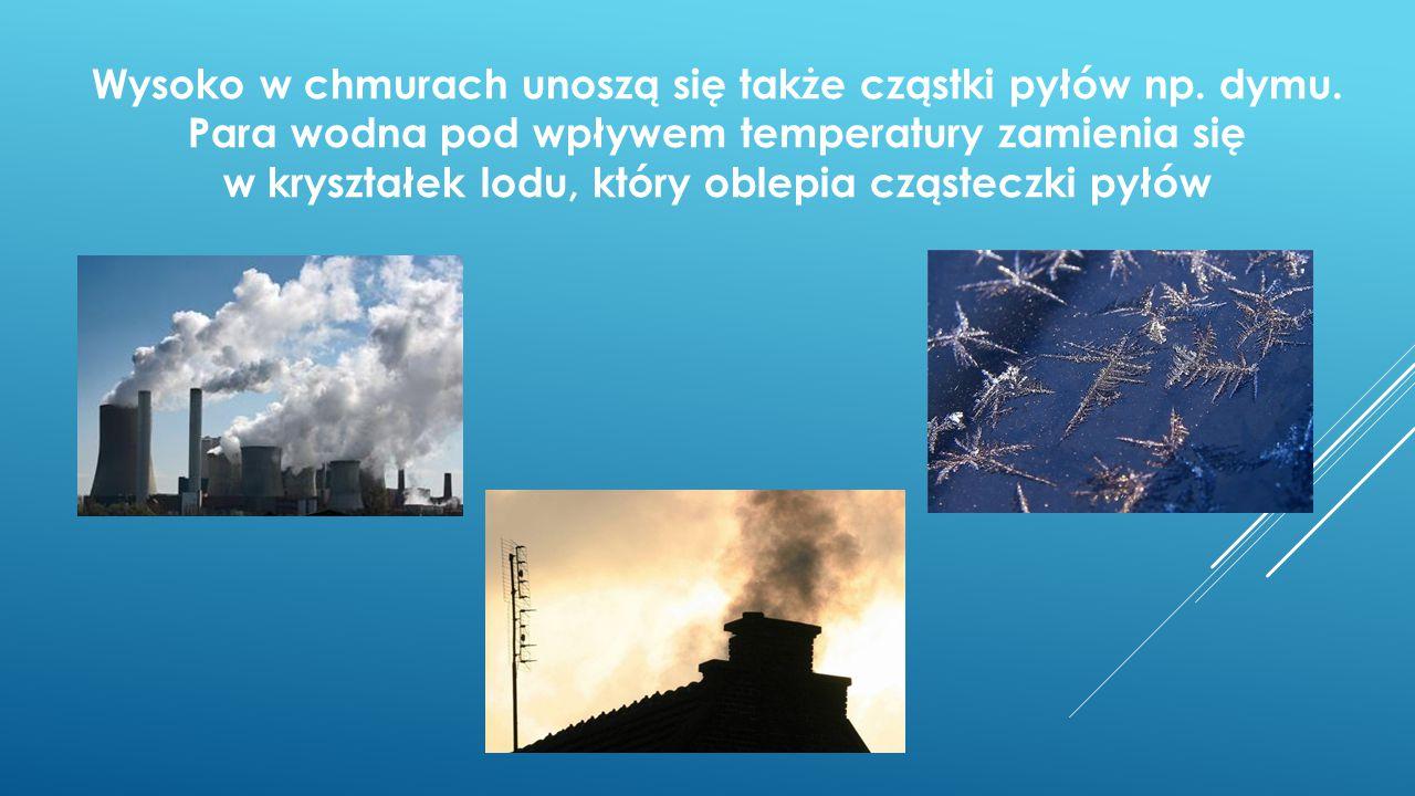 Wysoko w chmurach unoszą się także cząstki pyłów np. dymu. Para wodna pod wpływem temperatury zamienia się w kryształek lodu, który oblepia cząsteczki