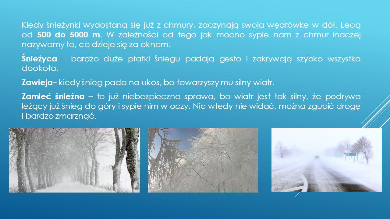 Kiedy śnieżynki wydostaną się już z chmury, zaczynają swoją wędrówkę w dół. Lecą od 500 do 5000 m. W zależności od tego jak mocno sypie nam z chmur in