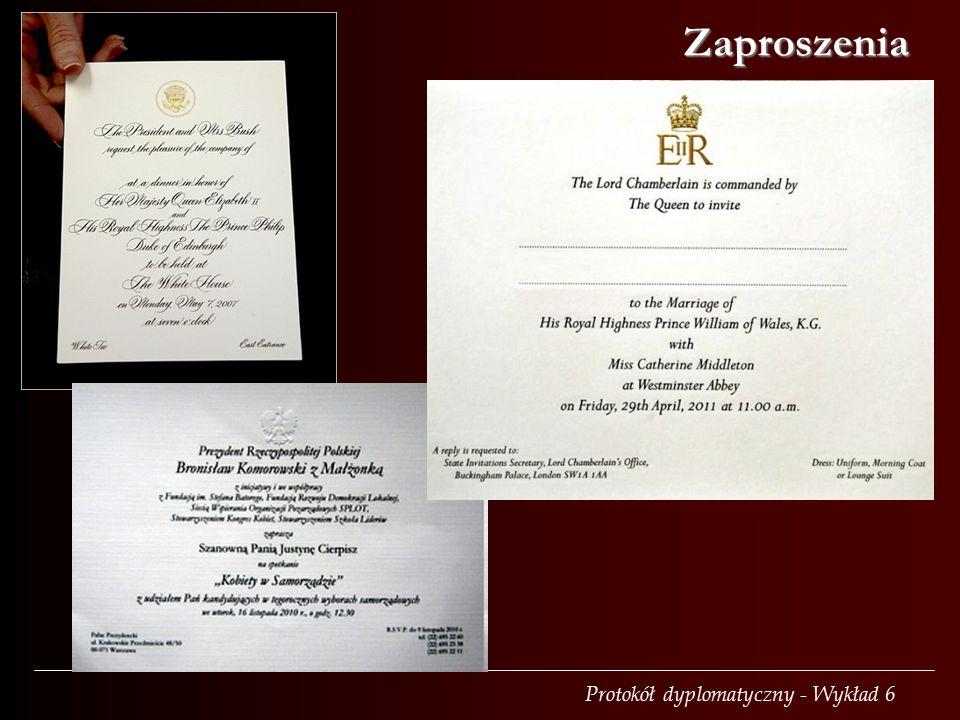 Protokół dyplomatyczny - Wykład 6 Zaproszenia