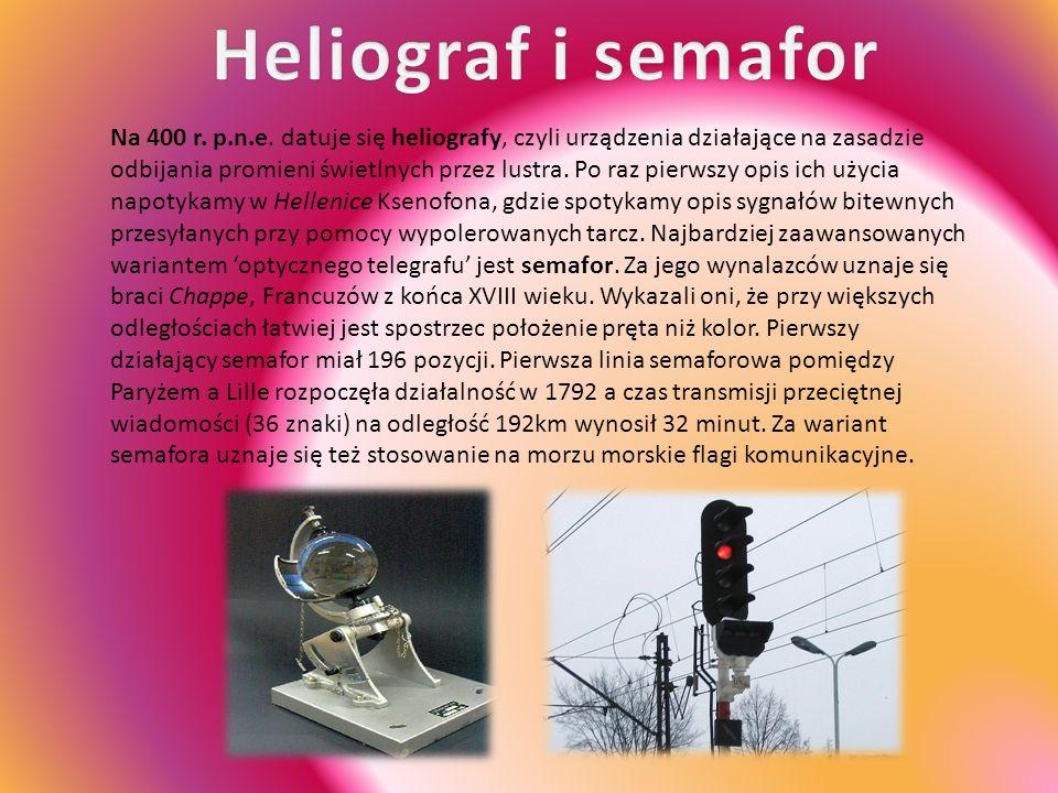 Na 400 r. p.n.e. datuje się heliografy, czyli urządzenia działające na zasadzie odbijania promieni świetlnych przez lustra. Po raz pierwszy opis ich u