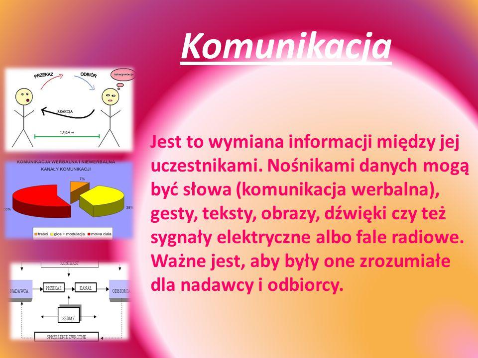 Komunikacja Jest to wymiana informacji między jej uczestnikami. Nośnikami danych mogą być słowa (komunikacja werbalna), gesty, teksty, obrazy, dźwięki