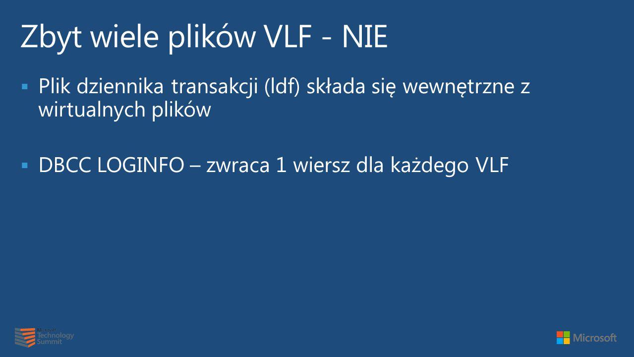  Plik dziennika transakcji (ldf) składa się wewnętrzne z wirtualnych plików  DBCC LOGINFO – zwraca 1 wiersz dla każdego VLF