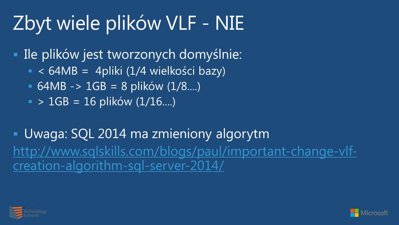  Ile plików jest tworzonych domyślnie:  < 64MB = 4pliki (1/4 wielkości bazy)  64MB -> 1GB = 8 plików (1/8....)  > 1GB = 16 plików (1/16....)  Uwaga: SQL 2014 ma zmieniony algorytm http://www.sqlskills.com/blogs/paul/important-change-vlf- creation-algorithm-sql-server-2014/