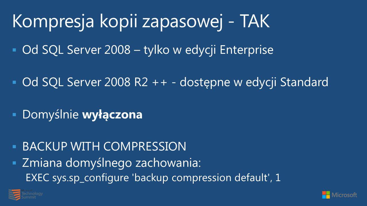  Od SQL Server 2008 – tylko w edycji Enterprise  Od SQL Server 2008 R2 ++ - dostępne w edycji Standard  Domyślnie wyłączona  BACKUP WITH COMPRESSION  Zmiana domyślnego zachowania: EXEC sys.sp_configure backup compression default ' 1