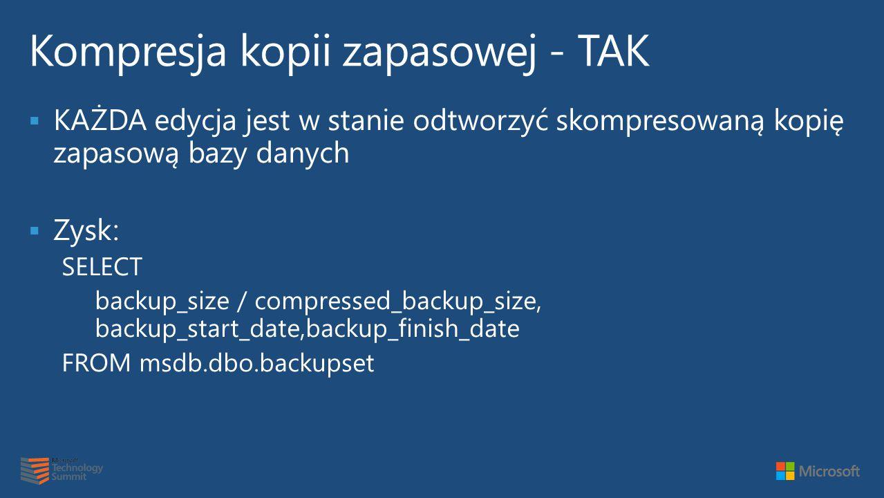  KAŻDA edycja jest w stanie odtworzyć skompresowaną kopię zapasową bazy danych  Zysk: SELECT backup_size / compressed_backup_size, backup_start_date,backup_finish_date FROM msdb.dbo.backupset
