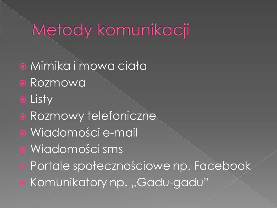  Mimika i mowa ciała  Rozmowa  Listy  Rozmowy telefoniczne  Wiadomości e-mail  Wiadomości sms  Portale społecznościowe np.