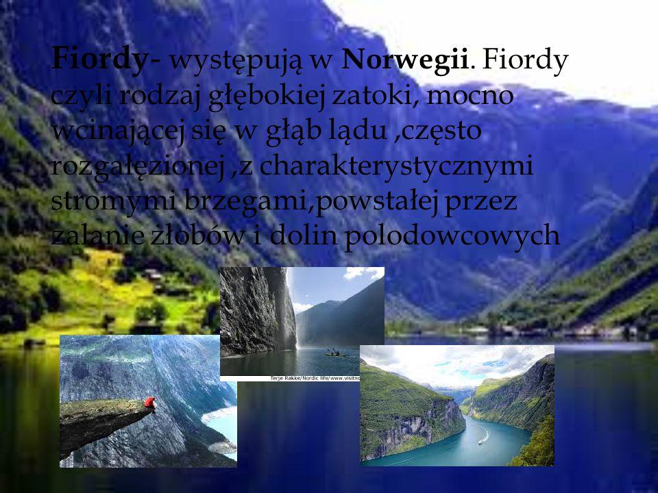 Fiordy - występują w Norwegii. Fiordy czyli rodzaj głębokiej zatoki, mocno wcinającej się w głąb lądu,często rozgałęzionej,z charakterystycznymi strom