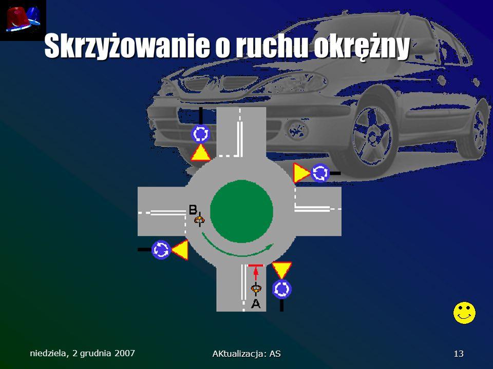 niedziela, 2 grudnia 2007 AKtualizacja: AS 13 Skrzyżowanie o ruchu okrężny