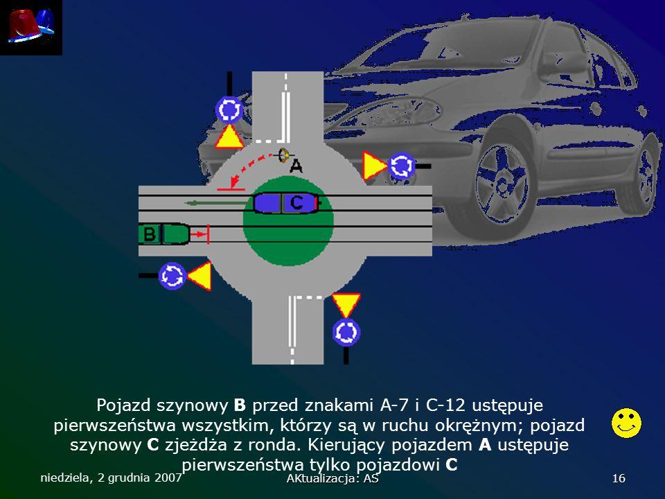 niedziela, 2 grudnia 2007 AKtualizacja: AS 16 Pojazd szynowy B przed znakami A-7 i C-12 ustępuje pierwszeństwa wszystkim, którzy są w ruchu okrężnym;