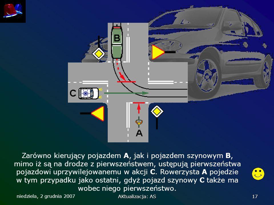 niedziela, 2 grudnia 2007 AKtualizacja: AS 17 Zarówno kierujący pojazdem A, jak i pojazdem szynowym B, mimo iż są na drodze z pierwszeństwem, ustępują