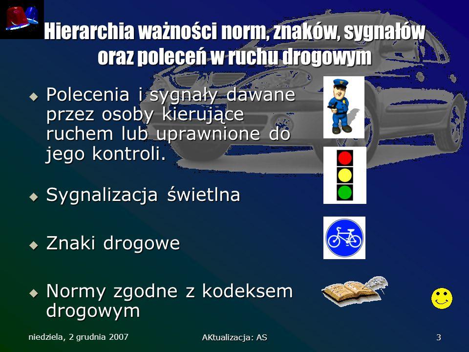 niedziela, 2 grudnia 2007 AKtualizacja: AS 3 Hierarchia ważności norm, znaków, sygnałów oraz poleceń w ruchu drogowym  Polecenia i sygnały dawane prz