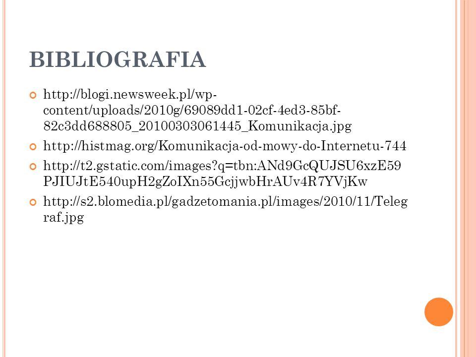 BIBLIOGRAFIA http://blogi.newsweek.pl/wp- content/uploads/2010g/69089dd1-02cf-4ed3-85bf- 82c3dd688805_20100303061445_Komunikacja.jpg http://histmag.or