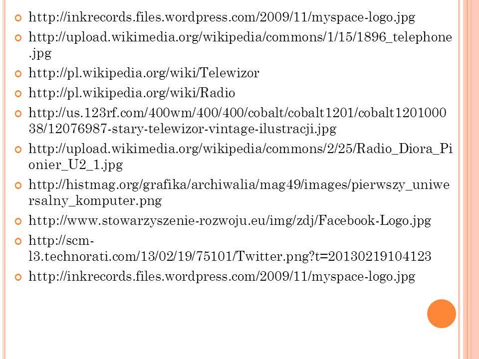 http://inkrecords.files.wordpress.com/2009/11/myspace-logo.jpg http://upload.wikimedia.org/wikipedia/commons/1/15/1896_telephone.jpg http://pl.wikiped