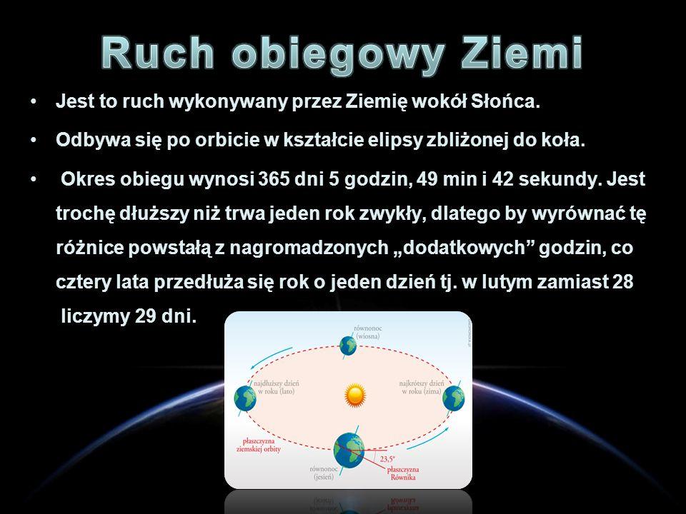 Jest to ruch wykonywany przez Ziemię wokół Słońca. Odbywa się po orbicie w kształcie elipsy zbliżonej do koła. Okres obiegu wynosi 365 dni 5 godzin, 4
