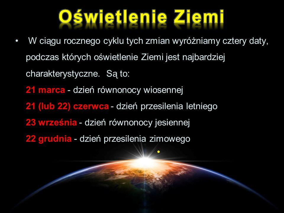 W ciągu rocznego cyklu tych zmian wyróżniamy cztery daty, podczas których oświetlenie Ziemi jest najbardziej charakterystyczne. Są to: 21 marca - dzie