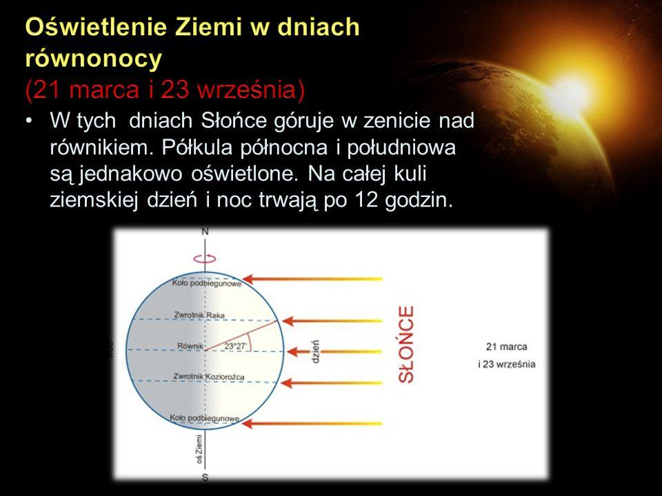 W tych dniach Słońce góruje w zenicie nad równikiem. Półkula północna i południowa są jednakowo oświetlone. Na całej kuli ziemskiej dzień i noc trwają