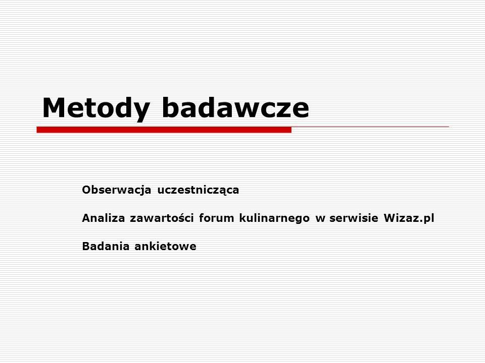 Metody badawcze Obserwacja uczestnicząca Analiza zawartości forum kulinarnego w serwisie Wizaz.pl Badania ankietowe