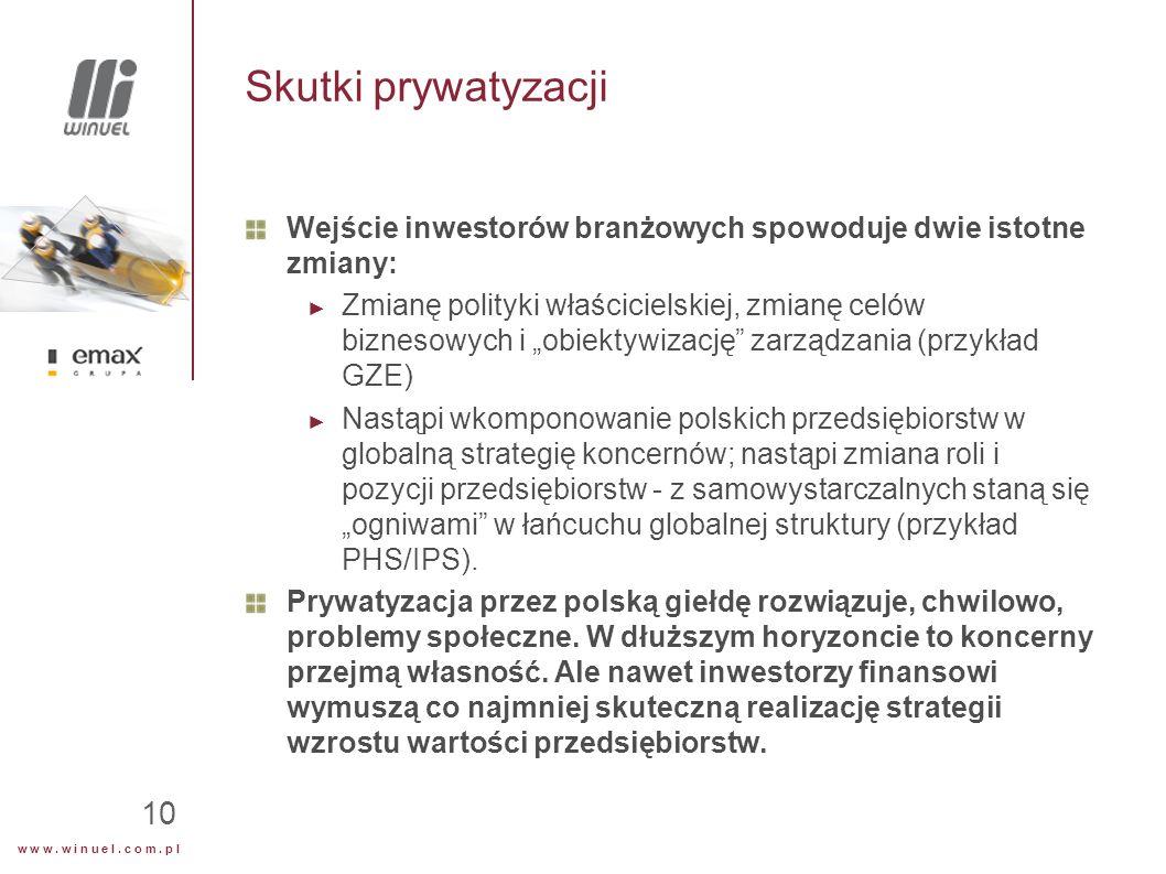 w w w. w i n u e l. c o m. p l 10 Skutki prywatyzacji Wejście inwestorów branżowych spowoduje dwie istotne zmiany: ► Zmianę polityki właścicielskiej,
