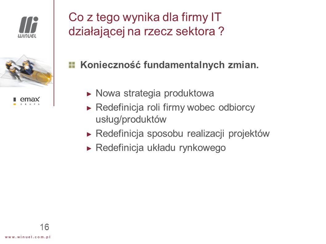 w w w. w i n u e l. c o m. p l 16 Co z tego wynika dla firmy IT działającej na rzecz sektora .