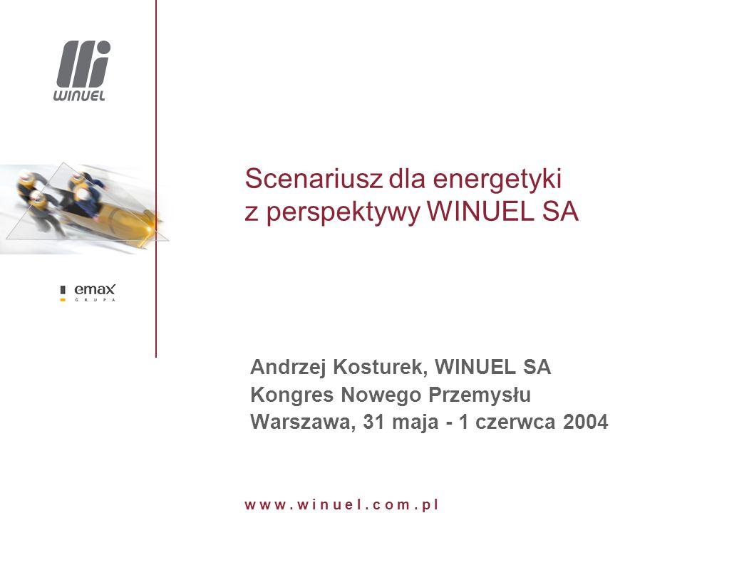Scenariusz dla energetyki z perspektywy WINUEL SA Andrzej Kosturek, WINUEL SA Kongres Nowego Przemysłu Warszawa, 31 maja - 1 czerwca 2004