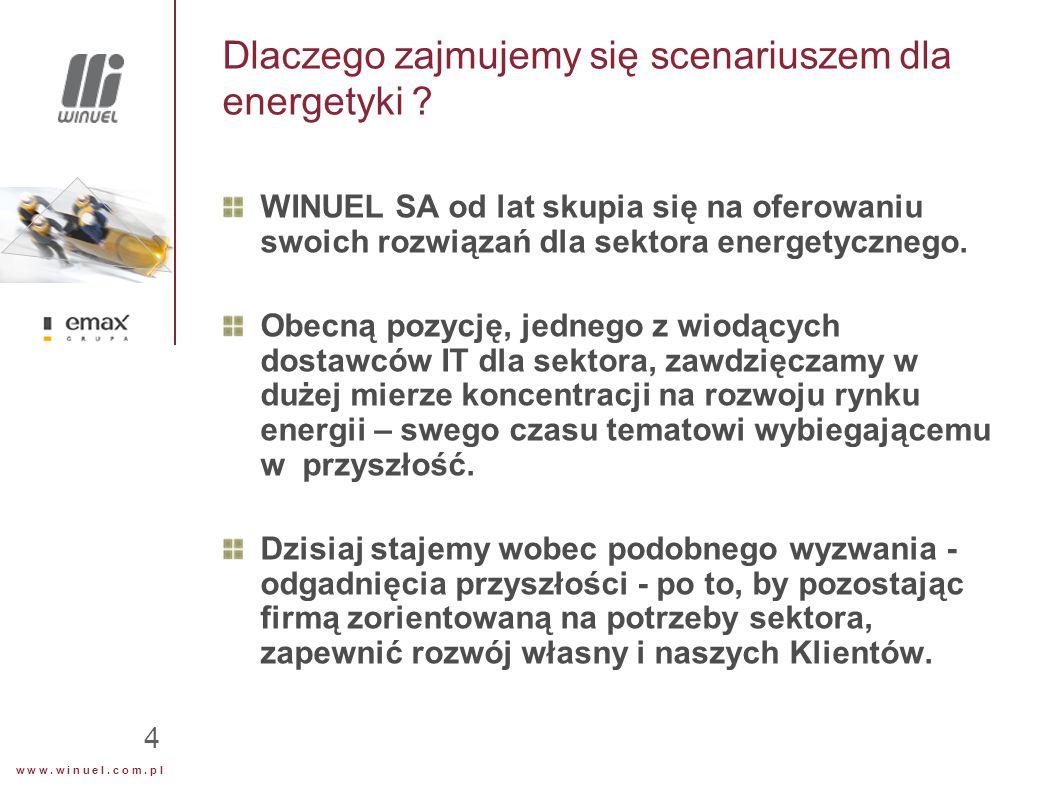 w w w. w i n u e l. c o m. p l 4 Dlaczego zajmujemy się scenariuszem dla energetyki ? WINUEL SA od lat skupia się na oferowaniu swoich rozwiązań dla s