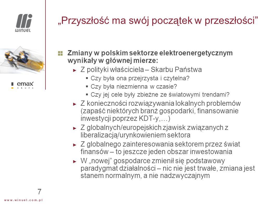 """w w w. w i n u e l. c o m. p l 7 """"Przyszłość ma swój początek w przeszłości"""" Zmiany w polskim sektorze elektroenergetycznym wynikały w głównej mierze:"""