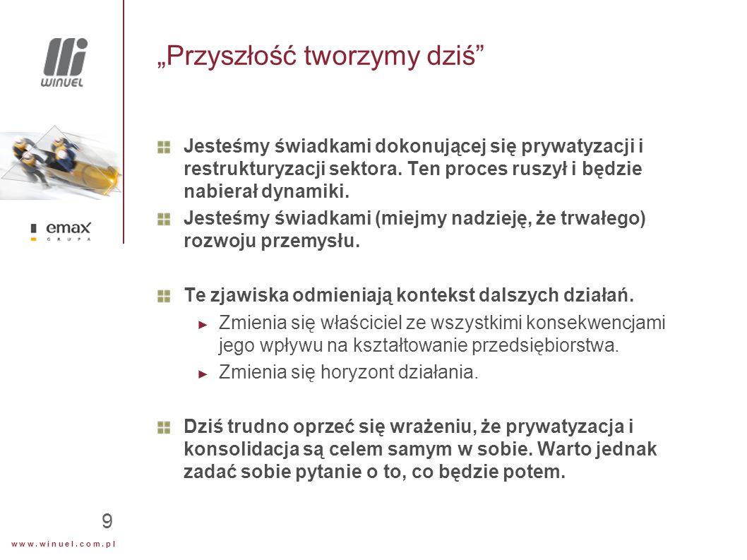 """w w w. w i n u e l. c o m. p l 9 """"Przyszłość tworzymy dziś"""" Jesteśmy świadkami dokonującej się prywatyzacji i restrukturyzacji sektora. Ten proces rus"""
