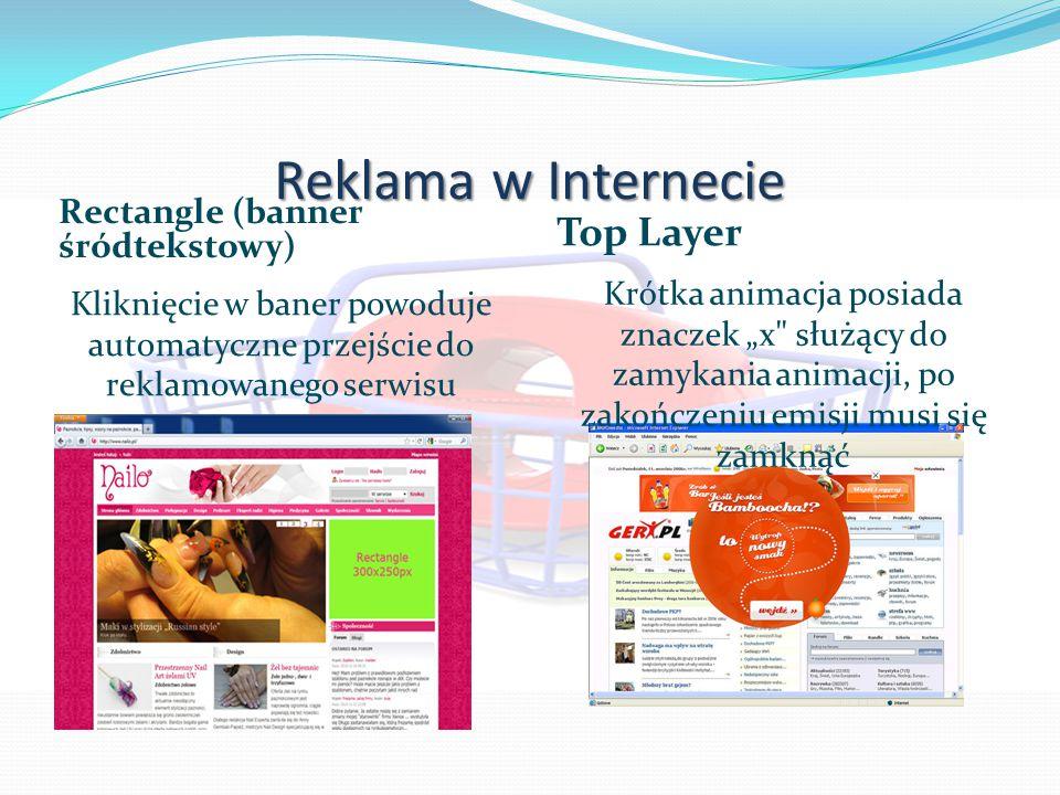 """Reklama w Internecie Rectangle (banner śródtekstowy) Kliknięcie w baner powoduje automatyczne przejście do reklamowanego serwisu Top Layer Krótka animacja posiada znaczek """"x służący do zamykania animacji, po zakończeniu emisji musi się zamknąć"""