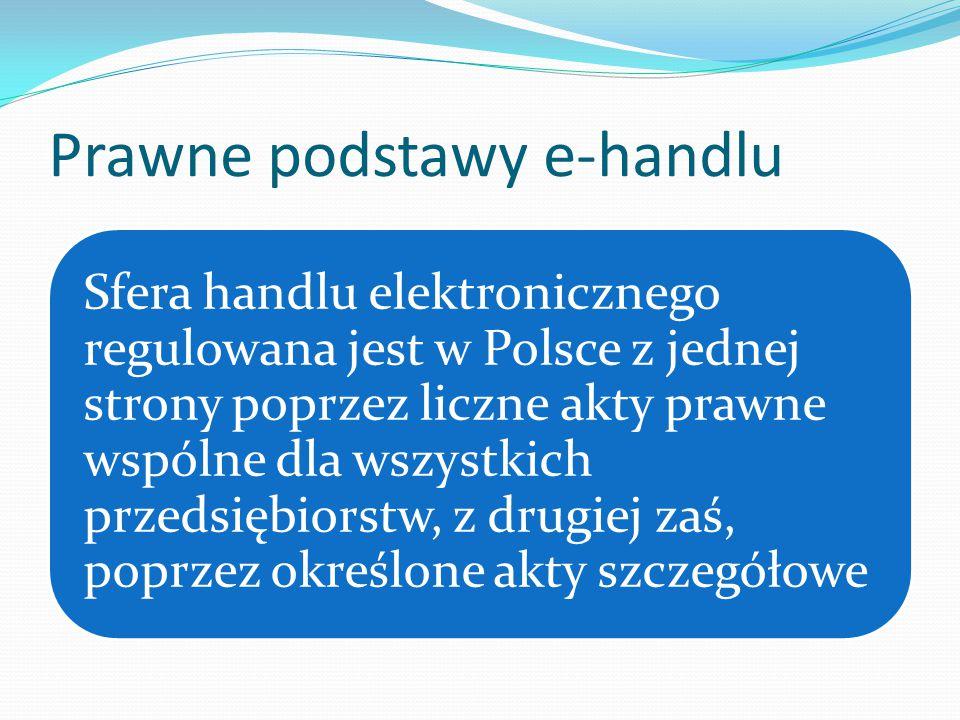 Prawne podstawy e-handlu Sfera handlu elektronicznego regulowana jest w Polsce z jednej strony poprzez liczne akty prawne wspólne dla wszystkich przedsiębiorstw, z drugiej zaś, poprzez określone akty szczegółowe