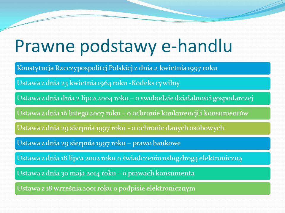Prawne podstawy e-handlu Konstytucja Rzeczypospolitej Polskiej z dnia 2 kwietnia 1997 rokuUstawa z dnia 23 kwietnia 1964 roku -Kodeks cywilnyUstawa z