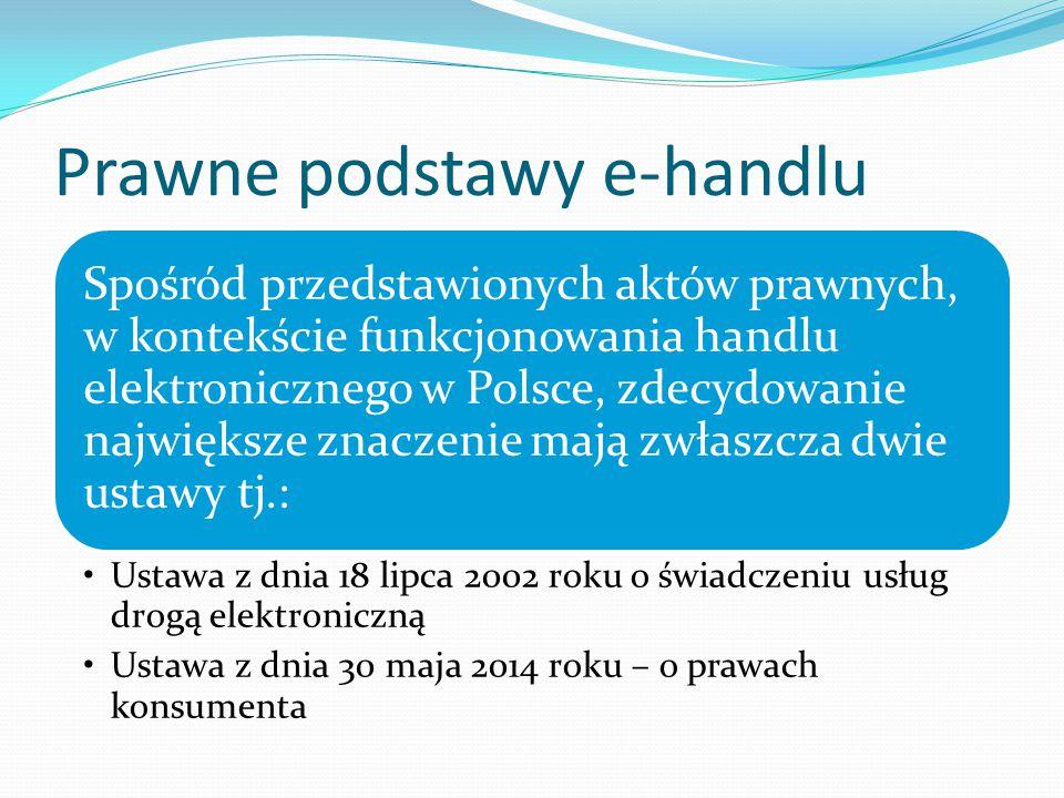 Prawne podstawy e-handlu Spośród przedstawionych aktów prawnych, w kontekście funkcjonowania handlu elektronicznego w Polsce, zdecydowanie największe znaczenie mają zwłaszcza dwie ustawy tj.: Ustawa z dnia 18 lipca 2002 roku o świadczeniu usług drogą elektroniczną Ustawa z dnia 30 maja 2014 roku – o prawach konsumenta