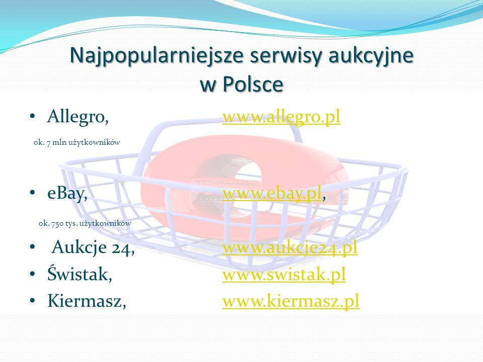 Najpopularniejsze serwisy aukcyjne w Polsce Allegro, www.allegro.plwww.allegro.pl ok. 7 mln użytkowników eBay, www.ebay.pl,www.ebay.pl ok. 750 tys. uż