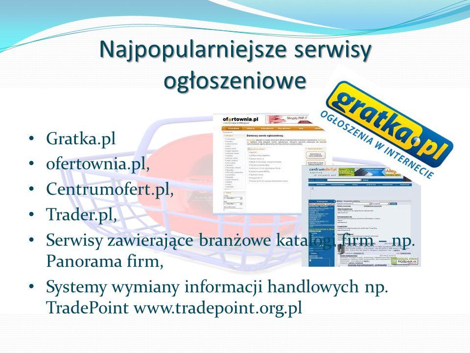 Najpopularniejsze serwisy ogłoszeniowe Gratka.pl ofertownia.pl, Centrumofert.pl, Trader.pl, Serwisy zawierające branżowe katalogi firm – np. Panorama