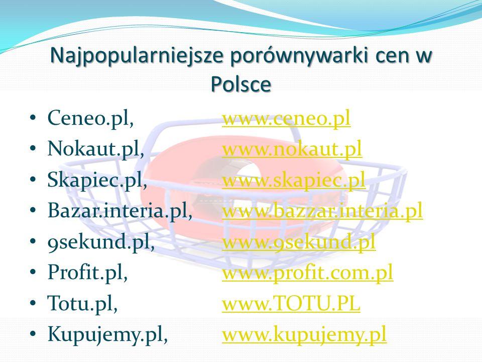 Najpopularniejsze porównywarki cen w Polsce Ceneo.pl,www.ceneo.plwww.ceneo.pl Nokaut.pl,www.nokaut.plwww.nokaut.pl Skapiec.pl,www.skapiec.plwww.skapie