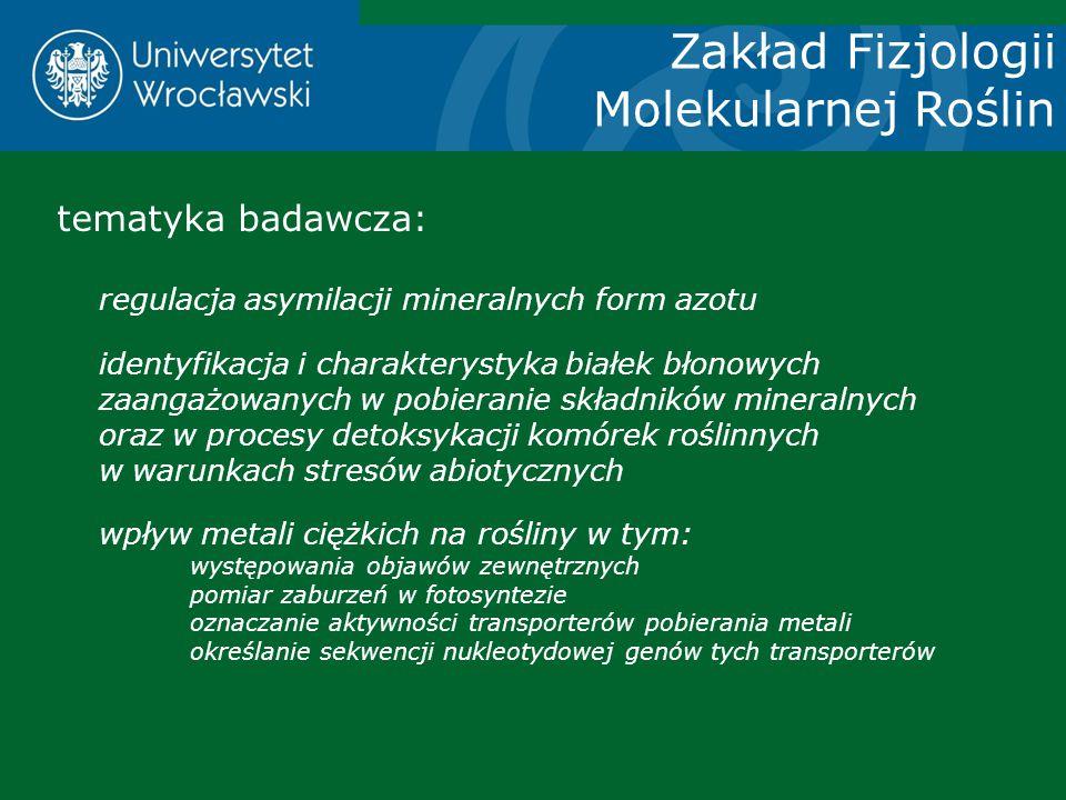 Zakład Fizjologii Molekularnej Roślin tematyka badawcza: regulacja asymilacji mineralnych form azotu identyfikacja i charakterystyka białek błonowych
