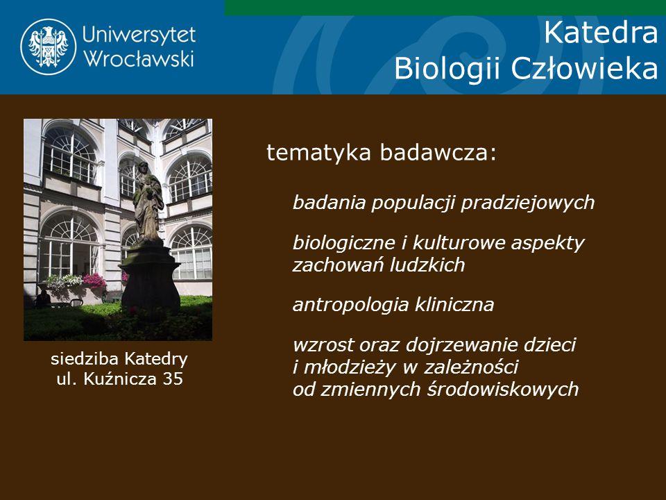 Katedra Biologii Człowieka siedziba Katedry ul. Kuźnicza 35 tematyka badawcza: badania populacji pradziejowych biologiczne i kulturowe aspekty zachowa
