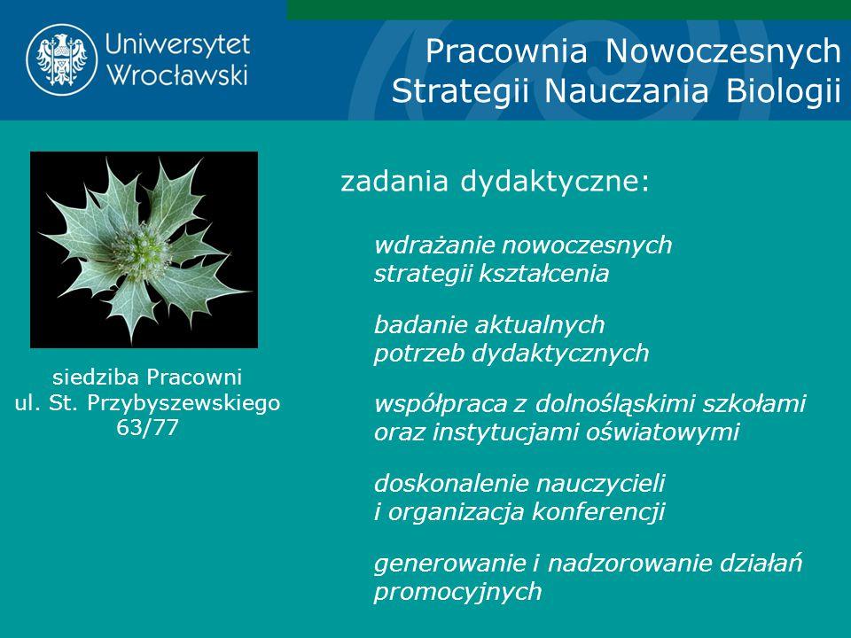 Pracownia Nowoczesnych Strategii Nauczania Biologii zadania dydaktyczne: wdrażanie nowoczesnych strategii kształcenia badanie aktualnych potrzeb dydak